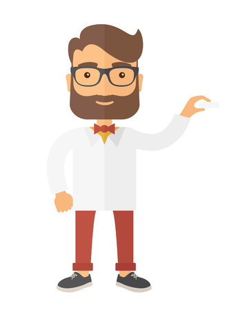 doctor tablet: Medical professional handsome young doctor assistant standing in white lab coat. A Contemporary style. Vector flat design illustration isolated white background. Vertical layout