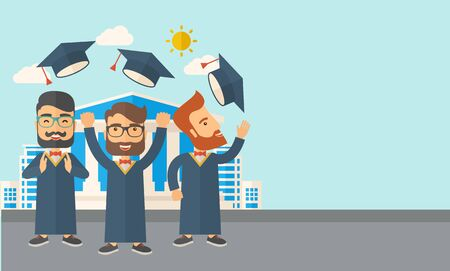 commencement: A smiling three men throwing graduation cap in the air. A Contemporary style with pastel palette, soft blue tinted background with desaturated clouds. Vector flat design illustration. Horizontal layout with text space in right side. Illustration