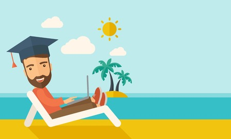 A young man sitting, wearing graduation cap with laptop on the beach under the sun. A Contemporary style with pastel palette, soft blue tinted background with desaturated clouds. Vector flat design illustration. Horizontal layout with text space in right  Illustration