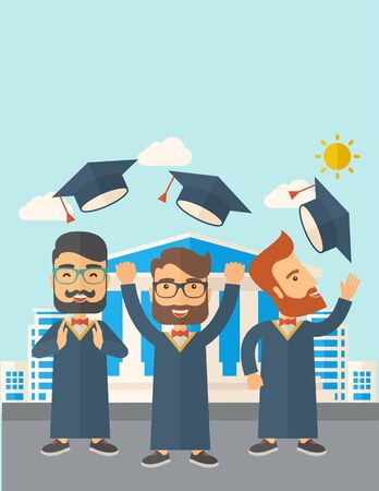 desaturated: A smiling three men throwing graduation cap in the air. A Contemporary style with pastel palette, soft blue tinted background with desaturated clouds. Vector flat design illustration. Vertical layout with text space on top part.