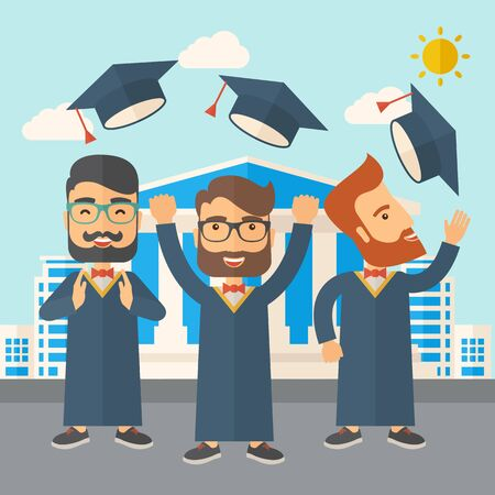 desaturated: A smiling three men throwing graduation cap in the air. A Contemporary style with pastel palette, soft blue tinted background with desaturated clouds. Vector flat design illustration. Square layout.