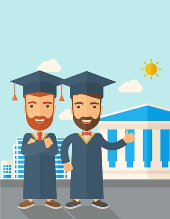 succeeding: A happy two young men wearing a toga and graduation cap standing under the sun. A Contemporary style with pastel palette, soft blue tinted background with desaturated clouds. Vector flat design illustration. Vertical layout with text space on top part.