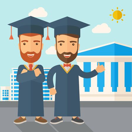 succeeding: A happy two young men wearing a toga and graduation cap standing under the sun. A Contemporary style with pastel palette, soft blue tinted background with desaturated clouds. Vector flat design illustration. Square layout. Illustration