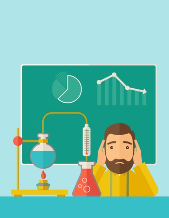 cartoon accident: A science teacher with scared facial expression works on mixing chemicals for an experiment in the laboratory. A Contemporary style with pastel palette, soft green tinted background. Vector flat design illustration. Vertical layout with text space on top