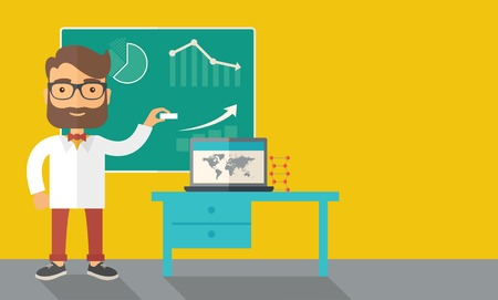 teacher classroom: A young professor holding a chalk sketching a graphs and teaching on how to develop a business worlwide. A Contemporary style with pastel palette, dark yellow tinted background. Vector flat design illustration. Horizontal layout with text space in right s