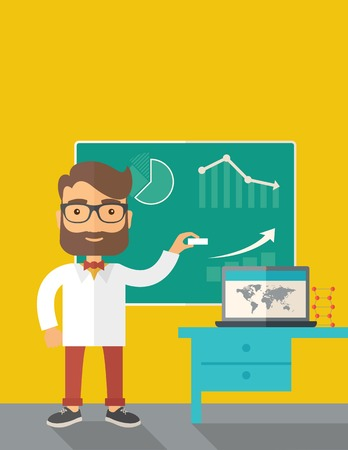 teaching adult: A young professor holding a chalk sketching a graphs and teaching on how to develop a business worlwide. A Contemporary style with pastel palette, dark yellow tinted background. Vector flat design illustration. Vertical layout with text space on top part.