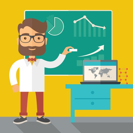 A young professor holding a chalk sketching a graphs and teaching on how to develop a business worlwide. A Contemporary style with pastel palette, dark yellow tinted background. Vector flat design illustration. Square layout. Ilustrace