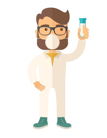 A scienteist with mask and holding a test tube doing a research. A Contemporary style. Vector flat design illustration isolated white background. Vertical layout