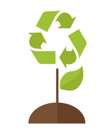 ozone: A green tree with recycle symbol to save the planet earth. A Contemporary style. Vector flat design illustration isolated white background. Vertical layout. Illustration