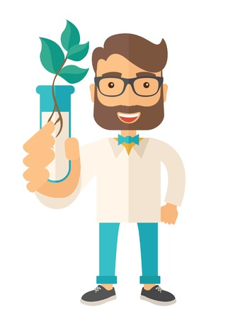 triangulum: A chemist holding a test tube with eco leaves. A Contemporary style. Vector flat design illustration isolated white background. Vertical layout Illustration