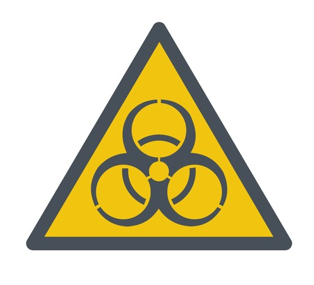 chemical weapon symbol: A Biohazard symbol. A Contemporary style. Vector flat design illustration isolated white background. Square layout