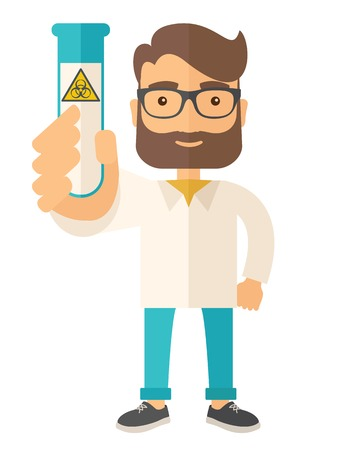 experimenting: A young Scientists experimenting with glass tube. A Contemporary style. Vector flat design illustration isolated white background. Vertical layout