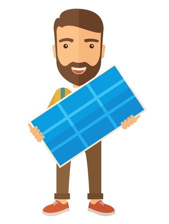 paneles solares: Un hombre joven y feliz de pie mientras sostiene un panel solar. Un estilo contemporáneo. Aislado Vector diseño plano ilustración de fondo blanco. Diseño vertical
