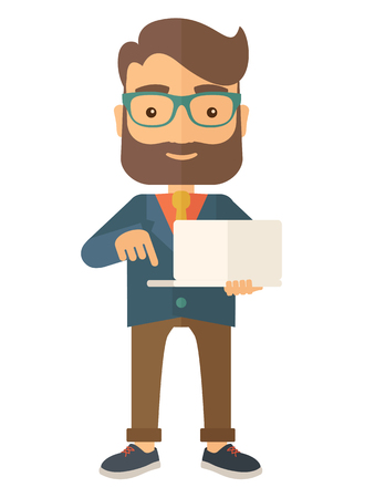 an achievement: A successful man holding a laptop. A man with laptop. A Contemporary style. Vector flat design illustration isolated white background. Vertical layout