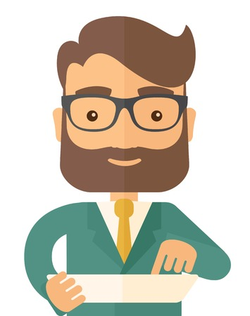 installing: A man with laptop. A Contemporary style. Vector flat design illustration isolated white background. Vertical layout