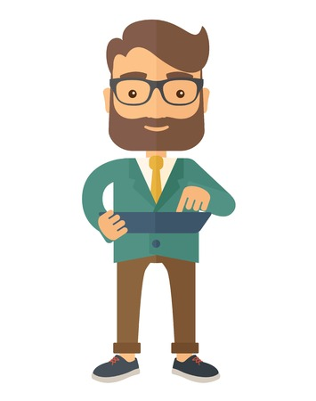 A mid adult male engineer holding a blueprint. A Contemporary style. Vector flat design illustration isolated white background. Vertical layout. Иллюстрация