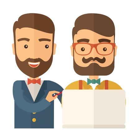 using laptop: A due lavoratori caucasico con laptop. Uno stile contemporaneo. Vector design piatto illustrazione isolato sfondo bianco. Pianta quadrata.