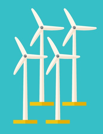 windfarm: A set of four windmills. A Contemporary style with pastel palette, soft blue tinted background. Vector flat design illustration. Vertical layout.