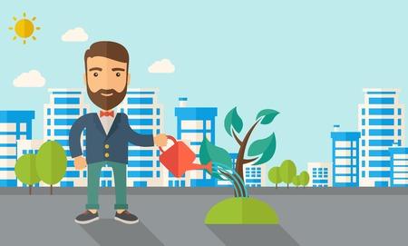 regando plantas: Un hombre que riega la planta en crecimiento como la mejora de la economía. Un estilo contemporáneo con la paleta de colores pastel, fondo teñido azul suave con nubes desaturado. Vector diseño plano ilustración. Diseño horizontal.