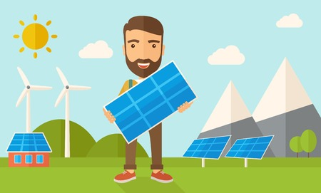 panel: A happy young man standing while holding a solar panel under the heat of the sun. A Contemporary style with pastel palette, soft blue tinted background with desaturated clouds. Vector flat design illustration. Horizontal layout.