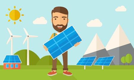 paneles solares: Un hombre joven y feliz de pie mientras sostiene un panel solar bajo el calor del sol. Un estilo contemporáneo con la paleta de colores pastel, fondo teñido azul suave con nubes desaturado. Vector diseño plano ilustración. Diseño horizontal.