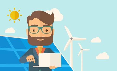 caricatura mosca: Un hombre con el ordenador portátil con el panel solar bajo el sol como la electricidad poder. Un estilo contemporáneo con la paleta de colores pastel, fondo teñido azul suave con nubes desaturado. Vector diseño plano ilustración. Diseño horizontal. Vectores