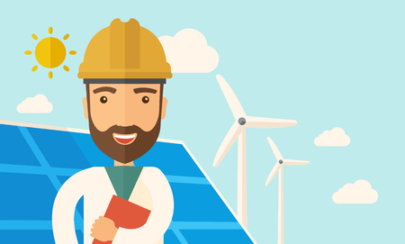 warmness: A man wearing hardhat smiling under the heat of the sun with solar panels and windmills. A Contemporary style with pastel palette, soft blue tinted background with desaturated clouds. Vector flat design illustration. Horizontal layout. Illustration
