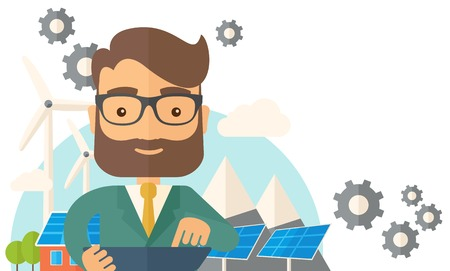 A mid adult male engineer holding a blueprint in a solar panel. A Contemporary style with pastel palette, soft beige tinted background. Vector flat design illustration. Horizontal layout with text space in right side