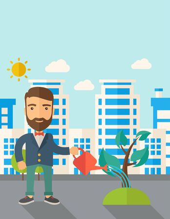 improving: A man watering the growing plant as improving economy. A Contemporary style with pastel palette, soft blue tinted background with desaturated clouds. Vector flat design illustration. Vertical layout with text space on top part.