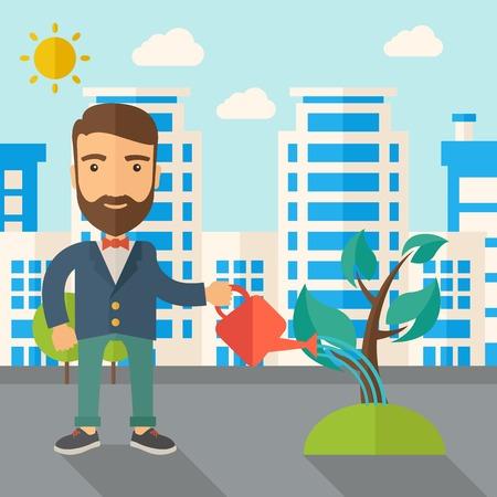 regando plantas: Un hombre que riega la planta en crecimiento como la mejora de la economía. Un estilo contemporáneo con la paleta de colores pastel, fondo teñido azul suave con nubes desaturado. Vector diseño plano ilustración. Diseño Square.