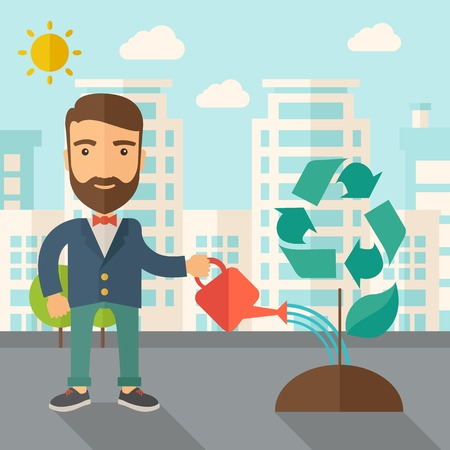 A man watering the green recycle tree to improve the ecology under the sun. A Contemporary style with pastel palette, soft blue tinted background with desaturated clouds. Vector flat design illustration. Square layout.