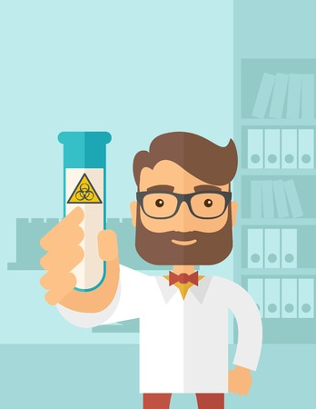 experimenting: A young Scientists experimenting with glass tube inside the laboratory. A Contemporary style with pastel palette, soft blue tinted background. Vector flat design illustration. Vertical layout.