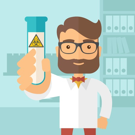 experimenting: A young Scientists experimenting with glass tube inside the laboratory. A Contemporary style with pastel palette, soft blue tinted background. Vector flat design illustration. Square layout.