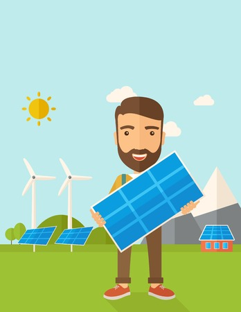 tinted: A happy young man standing while holding a solar panel under the heat of the sun. A Contemporary style with pastel palette, soft blue tinted background with desaturated clouds. Vector flat design illustration. Vertical layout with text space on top part.