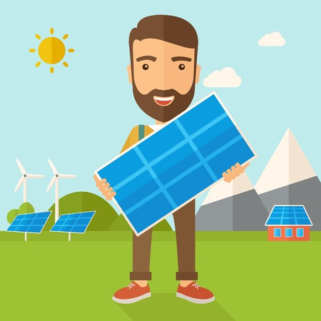 young man standing: A happy young man standing while holding a solar panel under the heat of the sun. A Contemporary style with pastel palette, soft blue tinted background with desaturated clouds. Vector flat design illustration. Square layout. Illustration
