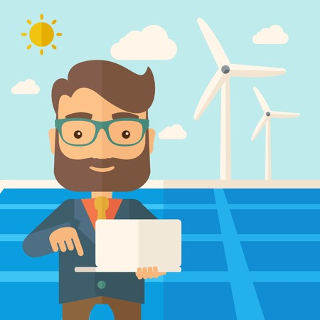 desaturated: A man with laptop using the solar panel under the sun as power electricity. A Contemporary style with pastel palette, soft blue tinted background with desaturated clouds. Vector flat design illustration. Square layout. Illustration