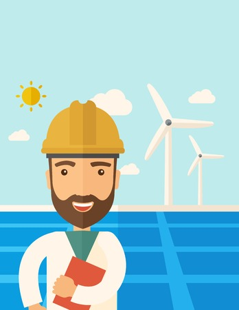 panels: A man wearing hardhat smiling under the heat of the sun with solar panels and windmills. A Contemporary style with pastel palette, soft blue tinted background with desaturated clouds. Vector flat design illustration. Vertical layout with text space on top Illustration