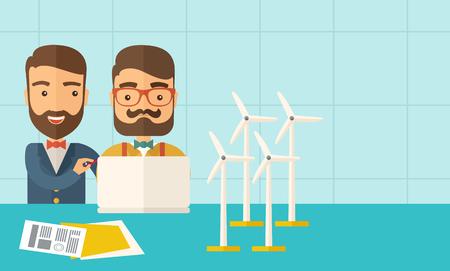 発電機: 風車と発電機としてノート パソコンを使用して 2 つの白人労働者。 パステル カラーのパレットで現代的なスタイル、柔らかめの青背景を彩色しました。ベクトル フラットなデザイン イラスト。右側のテキスト領域と水平方向のレイアウト。  イラスト・ベクター素材