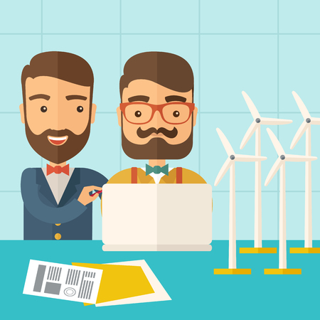power generator: A two caucasian workers using laptop with windmills as power generator. A Contemporary style with pastel palette, soft blue tinted background. Vector flat design illustration. Square layout.