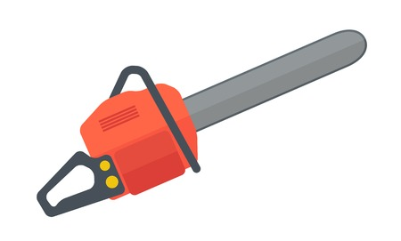 A heavy duty chainsaw used to cut, trim trees and firewood. A Contemporary style. Vector flat design illustration isolated white background. Horizontal layout. Vettoriali