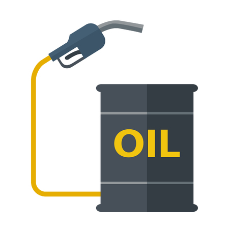 chemical spill: A black Metal barrels with gas pump. A Contemporary style. Vector flat design illustration isolated white background. Square layout
