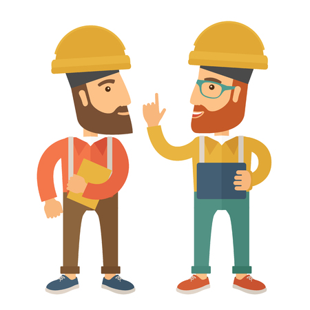 warmness: A two workers wearing hard hat talking .A Contemporary style. Vector flat design illustration isolated white background. Square layout