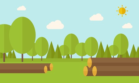 drywood: Pile of drywood sorrounded by a trees. A Contemporary style with pastel palette, soft blue tinted background with desaturated clouds. Vector flat design illustration. Horizontal layout. Illustration