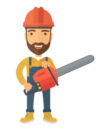 chainsaw: A lumberjack holding a chainsaw with hardhat. A Contemporary style. Vector flat design illustration isolated white background. Vertical layout