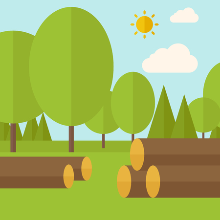 drywood: Pile of drywood sorrounded by a trees. A Contemporary style with pastel palette, soft blue tinted background with desaturated clouds. Vector flat design illustration. Square layout. Illustration