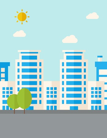 urban planning: A buildings with trees under the sun. A Contemporary style with pastel palette, soft blue tinted background with desaturated clouds. Vector flat design illustration. Vertical layout.