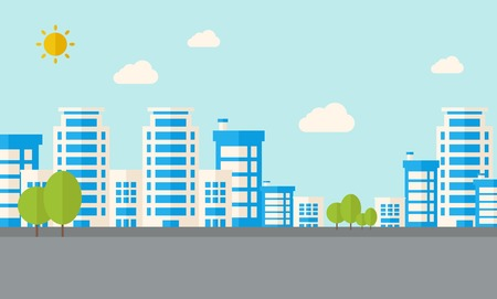 urban planning: A buildings with trees under the sun. A Contemporary style with pastel palette, soft blue tinted background with desaturated clouds. Vector flat design illustration. Horizontal layout.