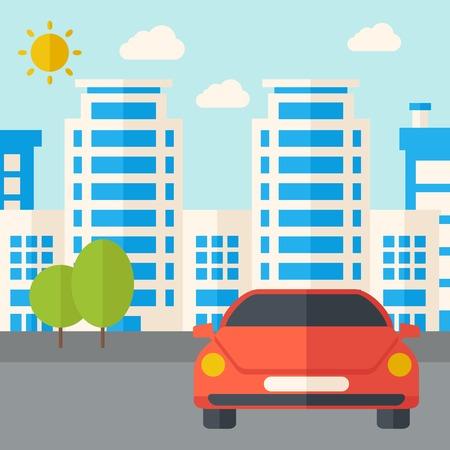 silhouette voiture: A en face du parking de l'immeuble. Un style contemporain avec palette pastel, fond teinté bleu tendre avec des nuages ??désaturées. Vector design plat illustration. Plan carré.