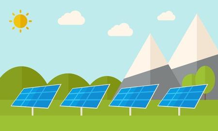 paneles solares: Cuatro paneles solares de pie bajo el calor del sol durante el uso de energía alternativa. Un estilo contemporáneo con la paleta de colores pastel, fondo teñido azul suave con nubes desaturado. Vector diseño plano ilustración. Diseño horizontal. Vectores