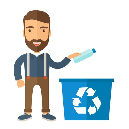 recycling: A hipster throwing plastic container into blue can with recycle symbol. A Contemporary style. Vector flat design illustration isolated white background. Square layout.